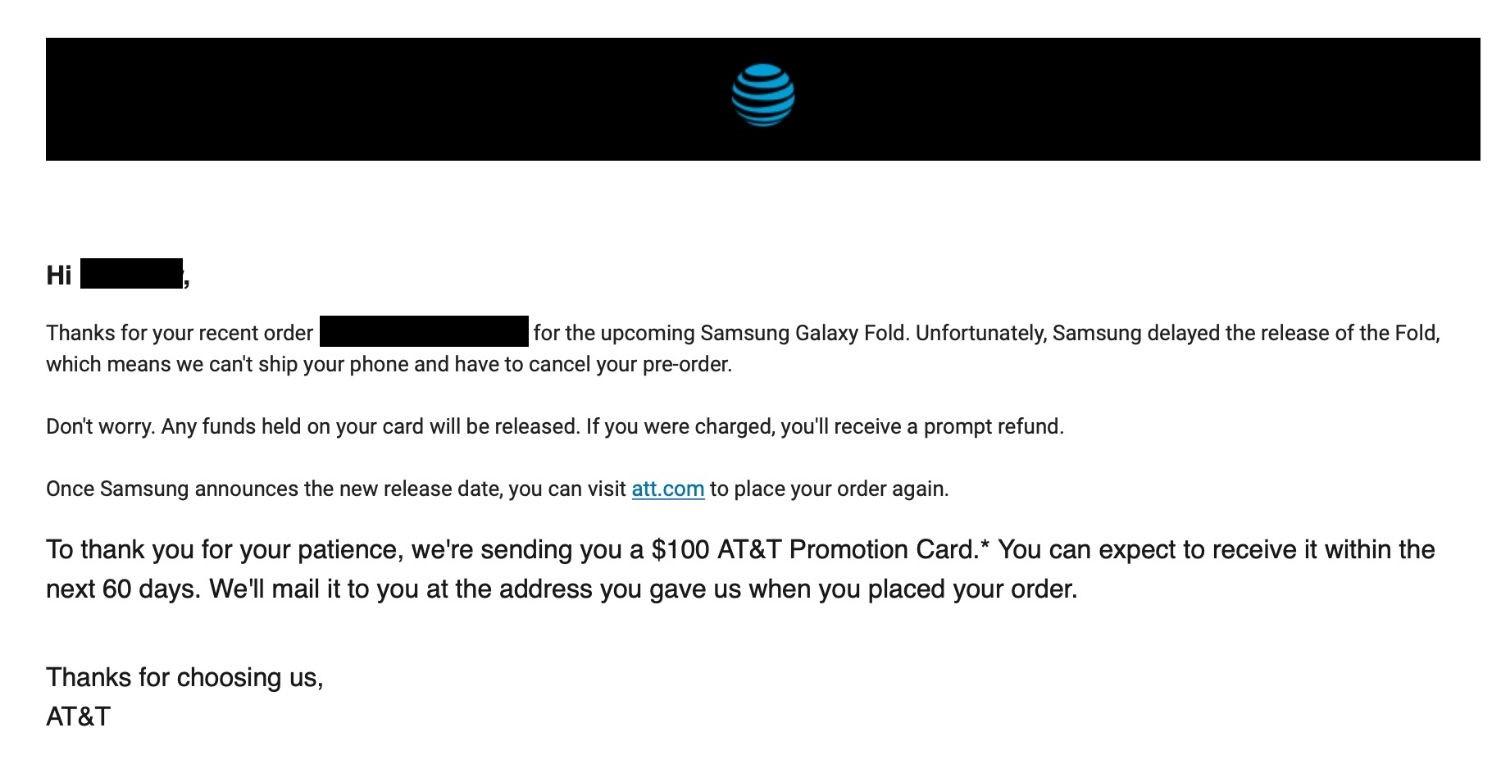 AT&T取消三星折叠屏手机Galaxy Fold预购订单